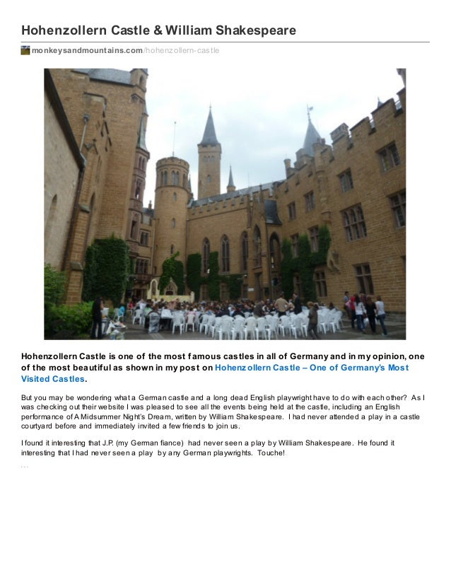 Hohenzollern Castle and William Shakespeare