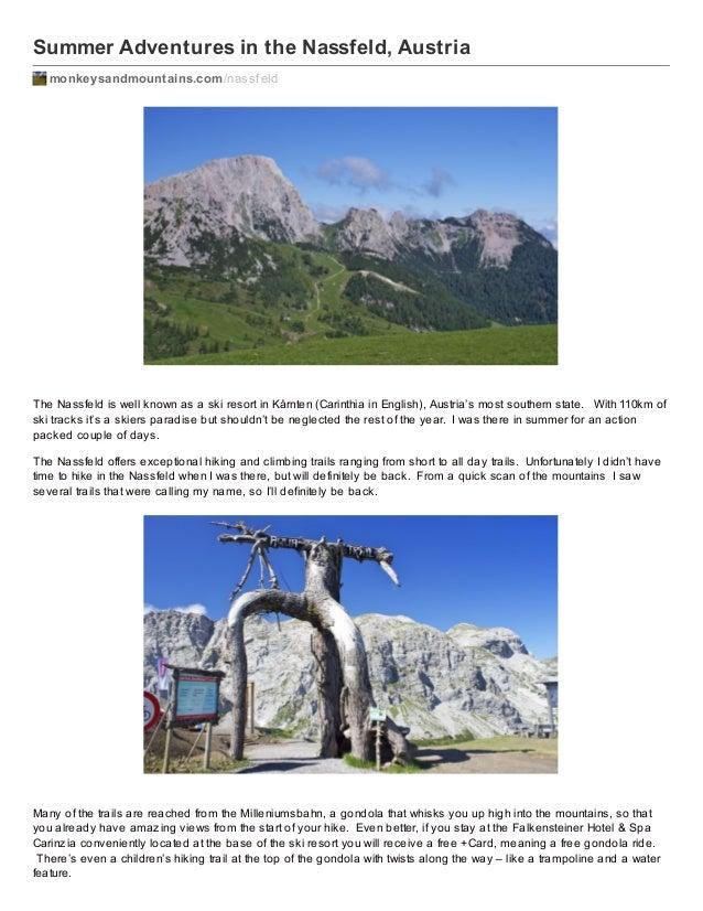 Summer Adventures in the Nassfeld, Austria monkeysandmountains.com /nassf eld  The Nassfeld is well known as a ski resort ...