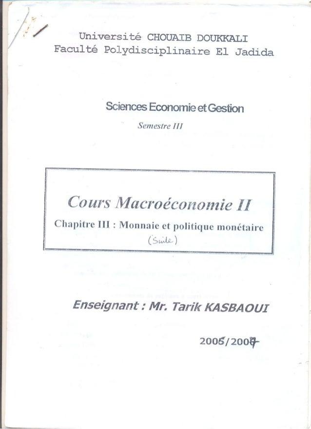 Monnaie et politique monétaire (suite)