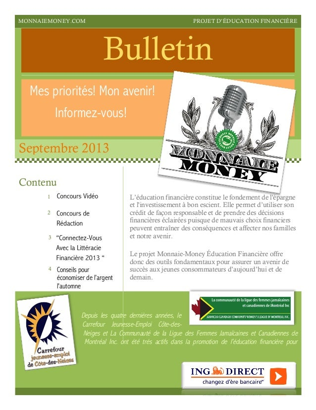 Monnaie Money   Bulletin Septembre 2013