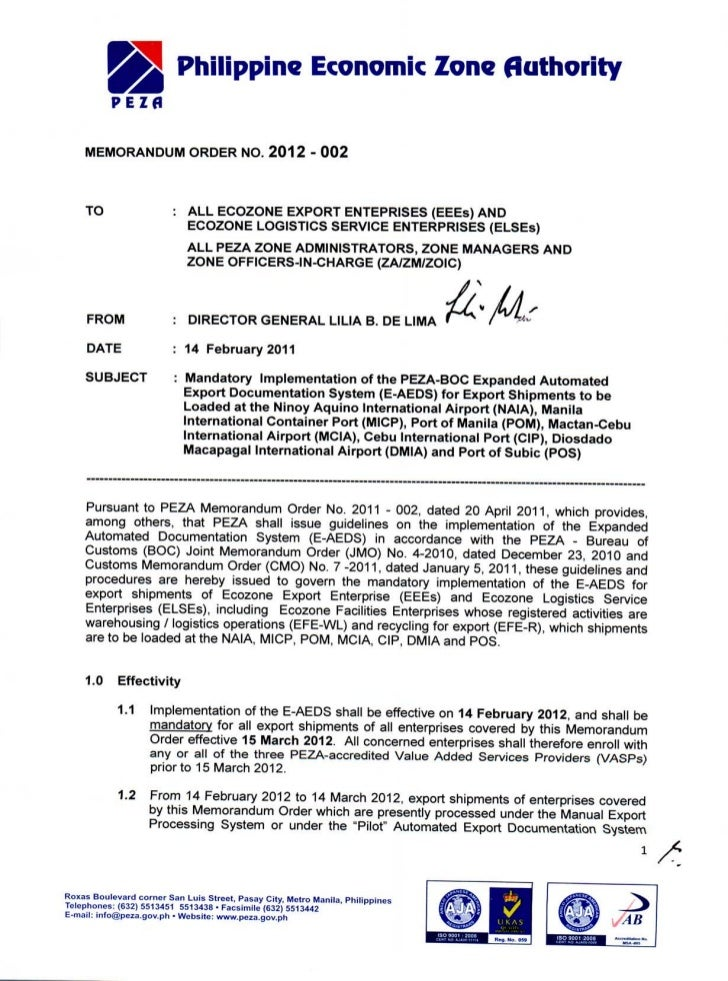 PEZA Memo 2012-002 on Expanded AEDS
