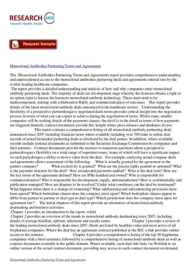 Monoclonal Antibodies Partnering Terms and Agreements Available on Researchmoz.us