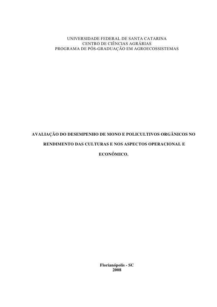 UNIVERSIDADE FEDERAL DE SANTA CATARINA                   CENTRO DE CIÊNCIAS AGRÁRIAS         PROGRAMA DE PÓS-GRADUAÇÃO EM ...