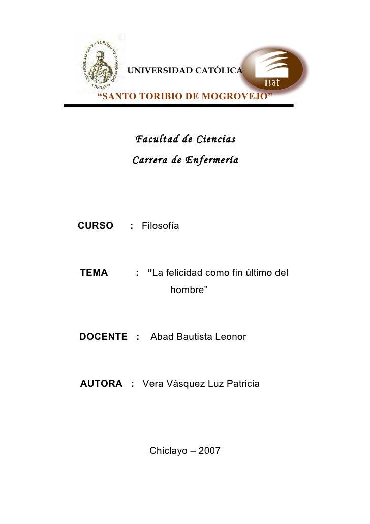 """UNIVERSIDAD CATÓLICA     """"SANTO TORIBIO DE MOGROVEJO""""              Facultad de Ciencias          Carrera de Enfermería    ..."""