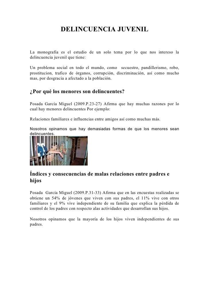 MonografíA Delincuencia Juvenil