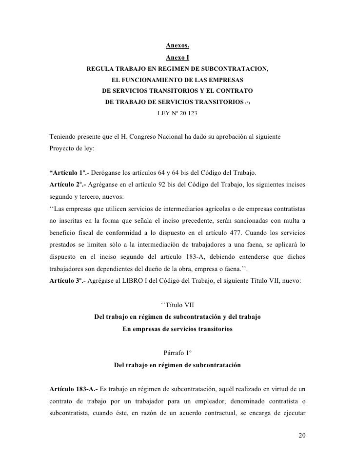 Monograf a la nueva ley de subcontrataci n for Formato de contrato de trabajo indefinido