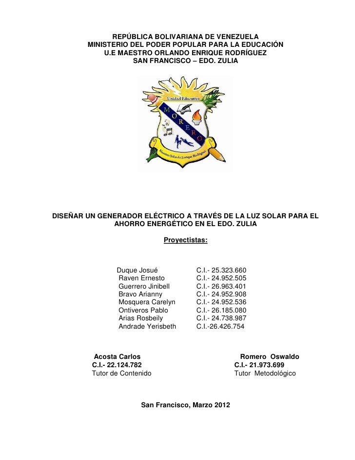 REPÚBLICA BOLIVARIANA DE VENEZUELA        MINISTERIO DEL PODER POPULAR PARA LA EDUCACIÓN            U.E MAESTRO ORLANDO EN...