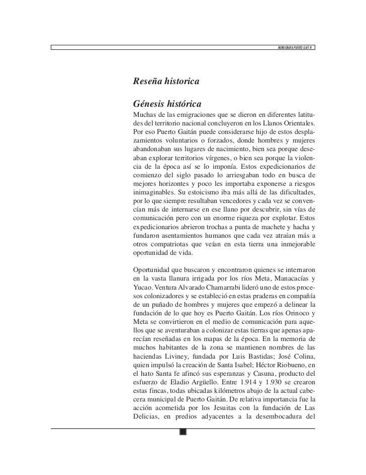 MONOGRAFíA PUERTO GAITÁNReseña historicaGénesis históricaMuchas de las emigraciones que se dieron en diferentes latitu-des...