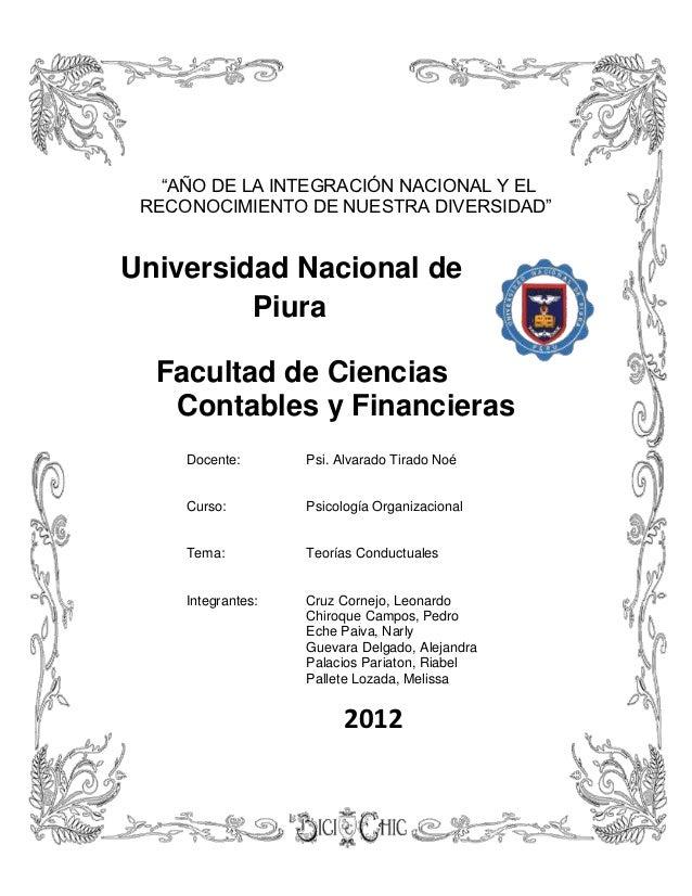 """""""AÑO DE LA INTEGRACIÓN NACIONAL Y EL RECONOCIMIENTO DE NUESTRA DIVERSIDAD""""Universidad Nacional de         Piura  Facultad ..."""