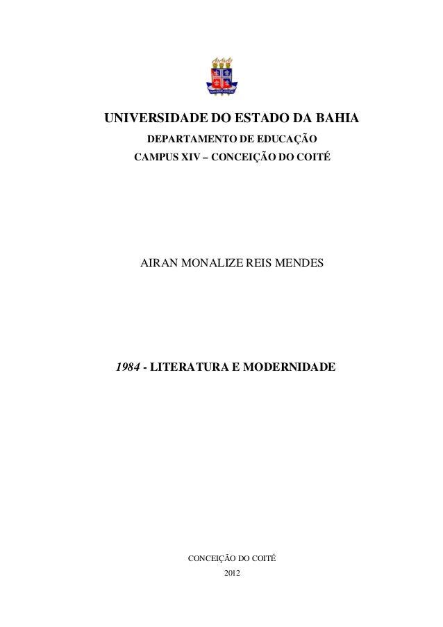 UNIVERSIDADE DO ESTADO DA BAHIADEPARTAMENTO DE EDUCAÇÃOCAMPUS XIV – CONCEIÇÃO DO COITÉAIRAN MONALIZE REIS MENDES1984 - LIT...