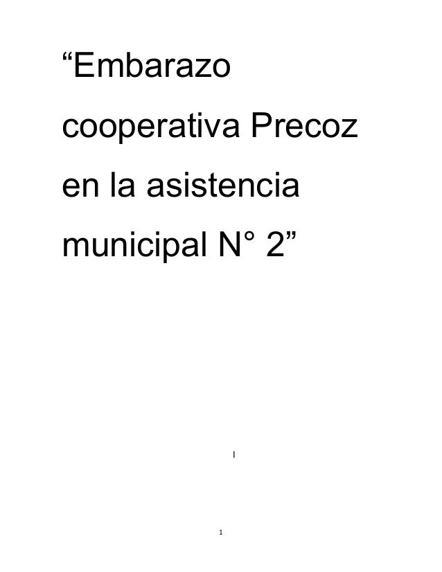 """Embarazo cooperativa Precoz en la asistencia municipal N° 2"" I 1"