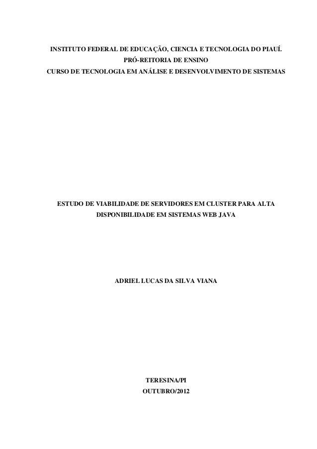 MONOGRAFIA - ESTUDO DE VIABILIDADE DE SERVIDORES EM CLUSTER PARA ALTA DISPONIBILIDADE DE SERVIDORES EM CLUSTER