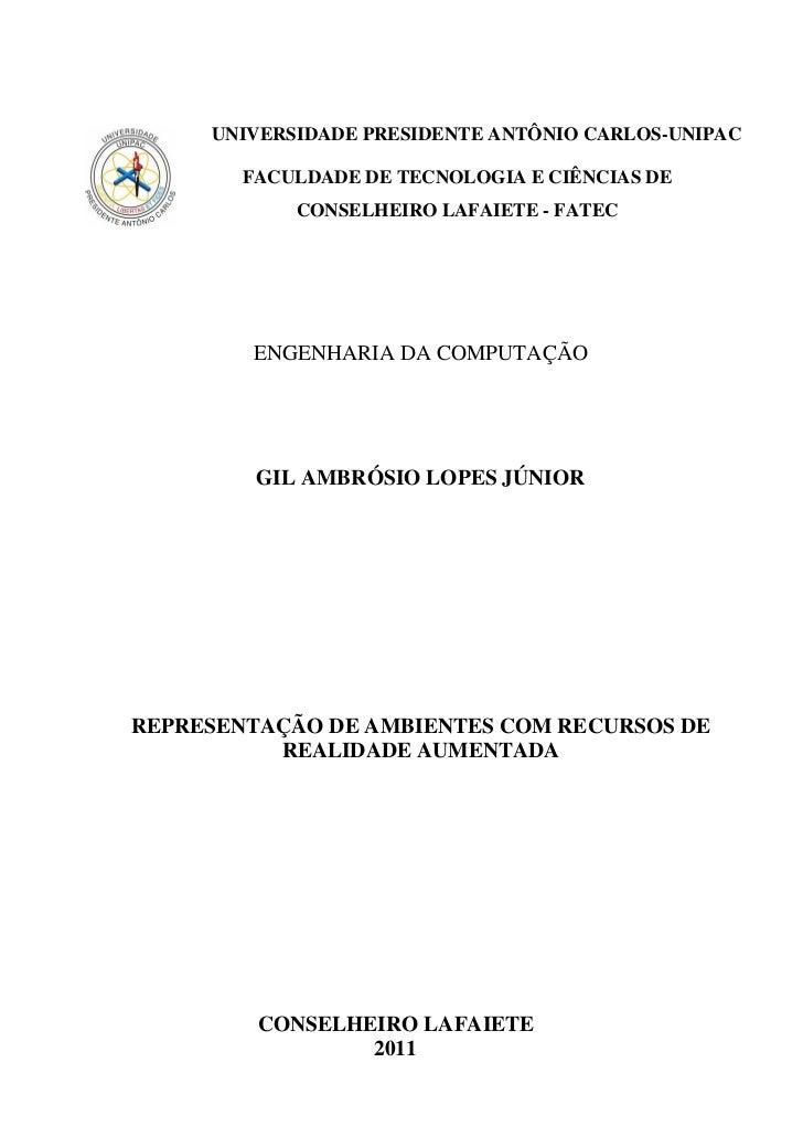 Monografia - Representação de Ambientes com recursos de Realidade Aumentada