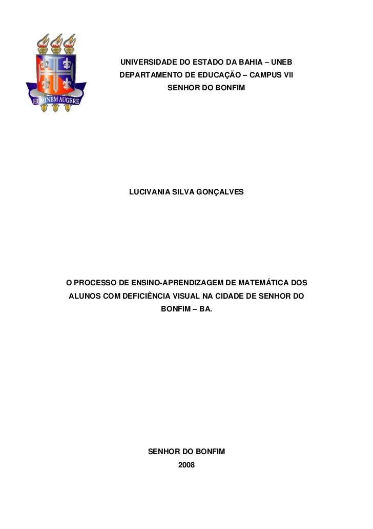 UNIVERSIDADE DO ESTADO DA BAHIA – UNEB           DEPARTAMENTO DE EDUCAÇÃO – CAMPUS VII                     SENHOR DO BONFI...