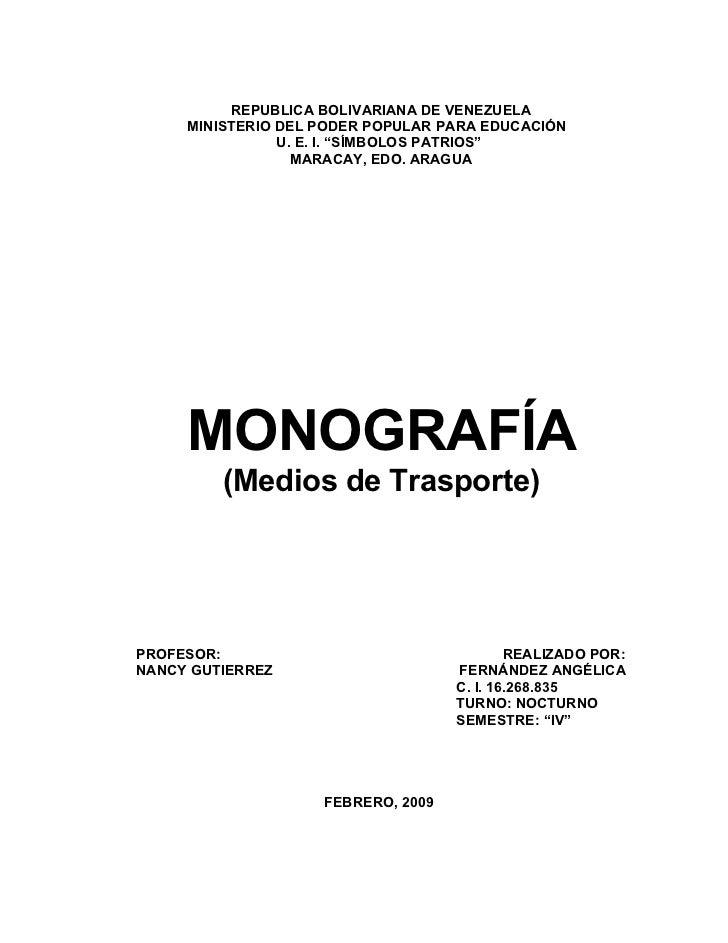 Monografia Medios De Transporte Angelica