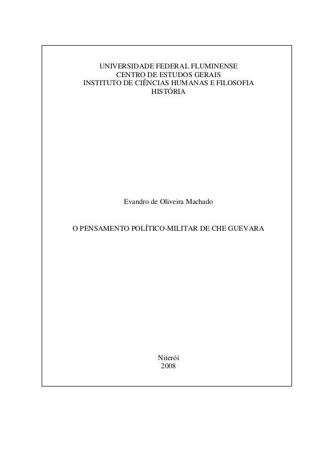 1  UNIVERSIDADE FEDERAL FLUMINENSE  CENTRO DE ESTUDOS GERAIS  INSTITUTO DE CIÊNCIAS HUMANAS E FILOSOFIA  HISTÓRIA  Evandro...