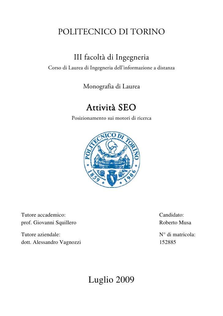 POLITECNICO DI TORINO                        III facoltà di Ingegneria            Corso di Laurea di Ingegneria dell'infor...
