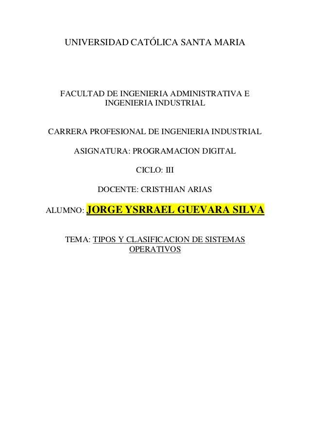 UNIVERSIDAD CATÓLICA SANTA MARIA FACULTAD DE INGENIERIA ADMINISTRATIVA E INGENIERIA INDUSTRIAL CARRERA PROFESIONAL DE INGE...