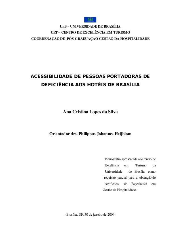UnB – UNIVERSIDADE DE BRASÍLIA        CET – CENTRO DE EXCELÊNCIA EM TURISMOCOORDENAÇÃO DE PÓS-GRADUAÇÃO GESTÃO DA HOSPITAL...