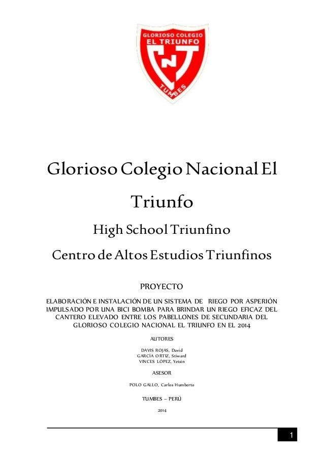1  Glorioso Colegio Nacional El  Triunfo  High School Triunfino  Centro de Altos Estudios Triunfinos  PROYECTO  ELABORACIÓ...