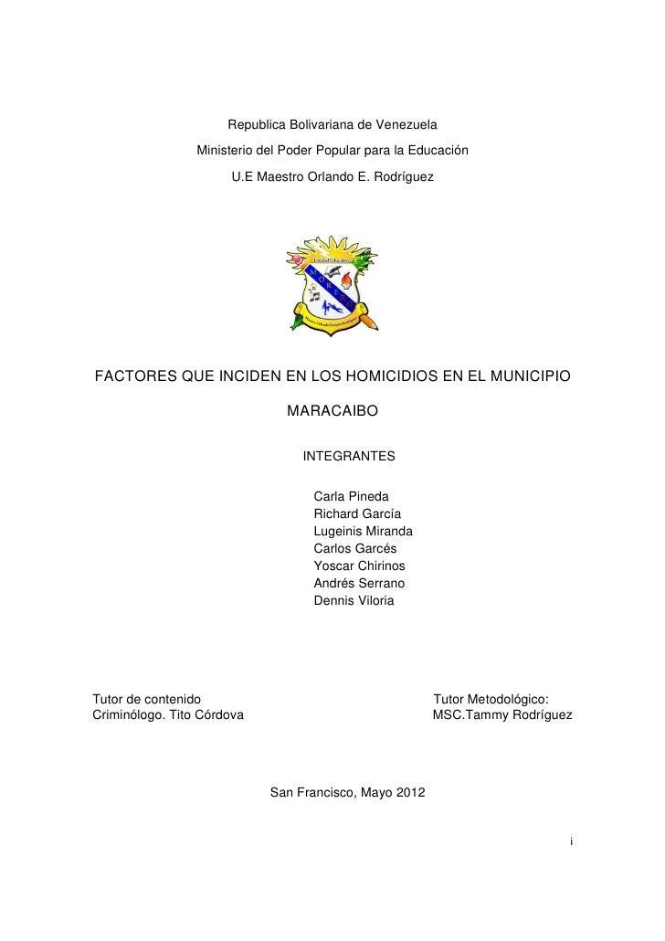 Republica Bolivariana de Venezuela                 Ministerio del Poder Popular para la Educación                      U.E...