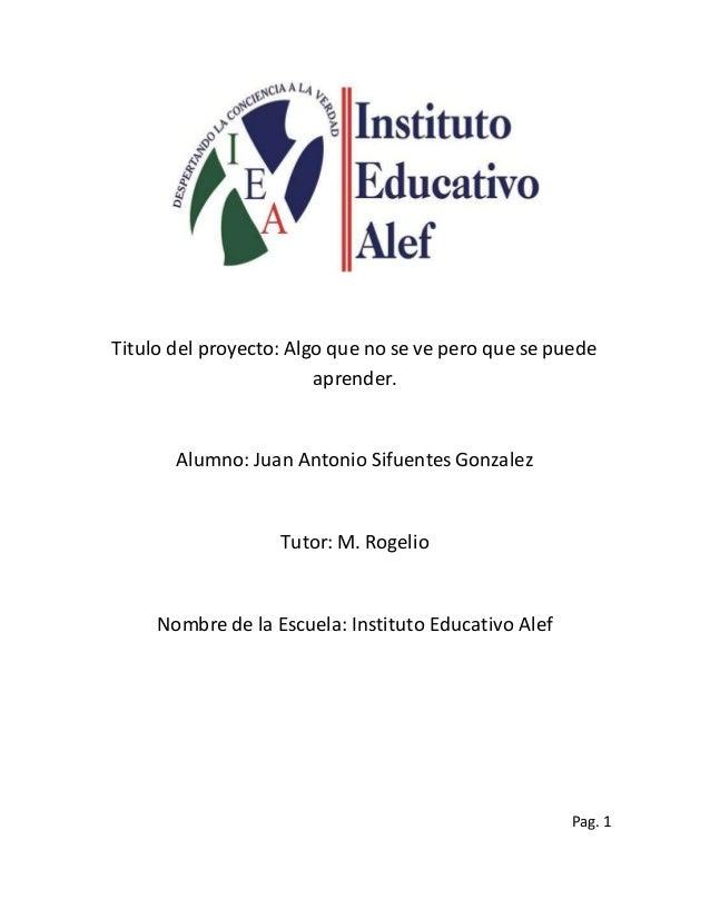 Titulo del proyecto: Algo que no se ve pero que se puede aprender. Alumno: Juan Antonio Sifuentes Gonzalez Tutor: M. Rogel...