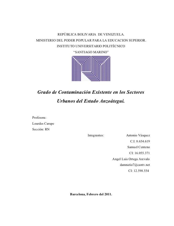 REPÙBLICA BOLIVARIA DE VENEZUELA.  MINISTERIO DEL PODER POPULAR PARA LA EDUCACION SUPERIOR.                 INSTITUTO UNIV...