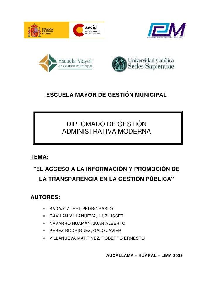 """ESCUELA MAYOR DE GESTIÓN MUNICIPAL                   DIPLOMADO DE GESTIÓN              ADMINISTRATIVA MODERNA   TEMA:  """"EL..."""