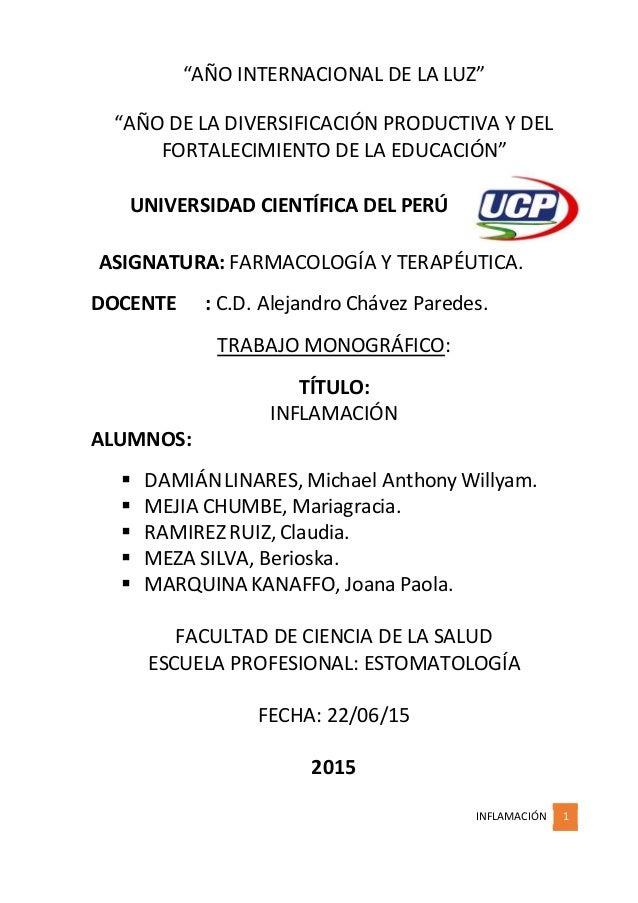"""INFLAMACIÓN 1 """"AÑO INTERNACIONAL DE LA LUZ"""" """"AÑO DE LA DIVERSIFICACIÓN PRODUCTIVA Y DEL FORTALECIMIENTO DE LA EDUCACIÓN"""" U..."""