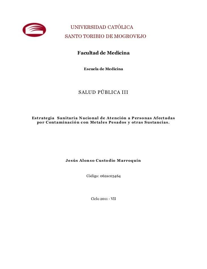 UNIVERSIDAD CATÓLICA              SANTO TORIBIO DE MOGROVEJO                    Facultad de Medicina                      ...