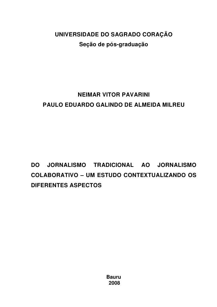 UNIVERSIDADE DO SAGRADO CORAÇÃO                Seção de pós-graduação                   NEIMAR VITOR PAVARINI      PAULO E...