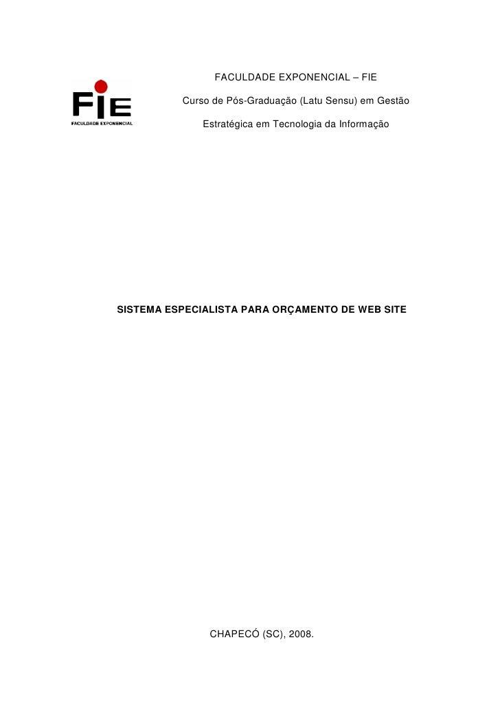 FACULDADE EXPONENCIAL – FIE            Curso de Pós-Graduação (Latu Sensu) em Gestão               Estratégica em Tecnolog...