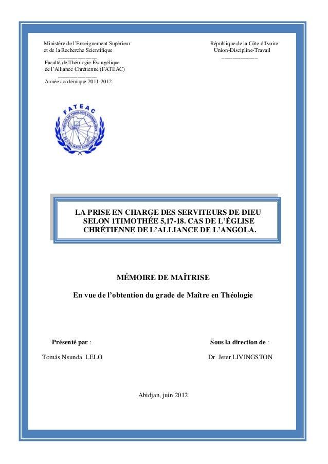 ii Ministère de l'Enseignement Supérieur République de la Côte d'Ivoire et de la Recherche Scientifique Union-Discipline-T...