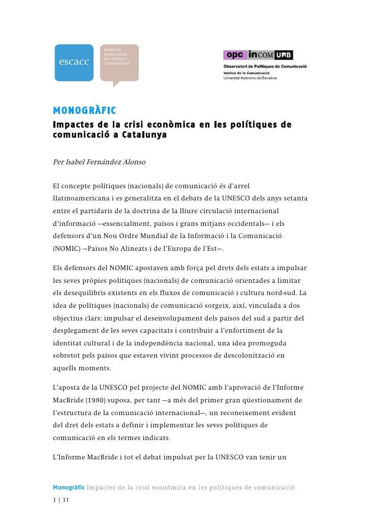 Impactes de la crisi econòmica en les polítiques de comunicació a Catalunya