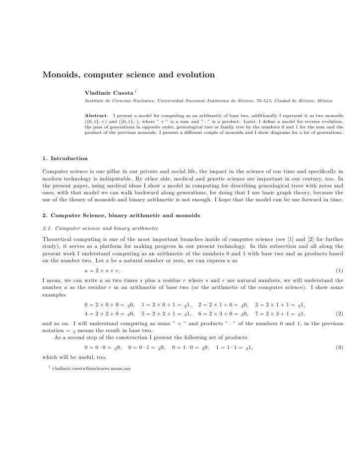Monoids, computer science and evolution                     Vladimir Cuesta †                    Instituto de Ciencias Nuc...