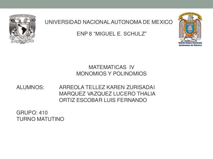"""UNIVERSIDAD NACIONAL AUTONOMA DE MEXICO                    ENP 8 """"MIGUEL E. SCHULZ""""                       MATEMATICAS IV  ..."""