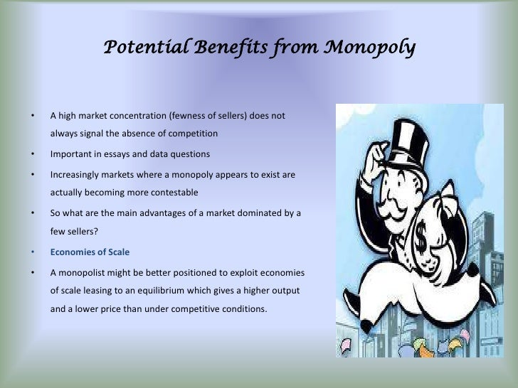 monopoly economics 4 essay Characteristics associated with a monopoly market make the single seller the market controller as well as the price maker.