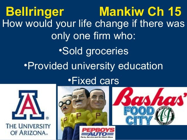 Bellringer  Mankiw Ch 15  How would your life change if there was only one firm who: •Sold groceries •Provided university ...