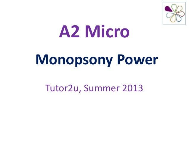 Monopsony Power in Markets