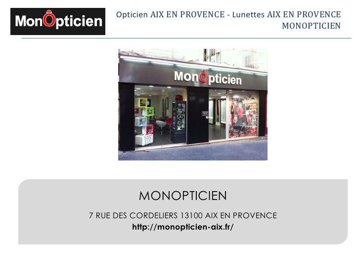 Opticien à Aix-en-Provence - Mon Opticien