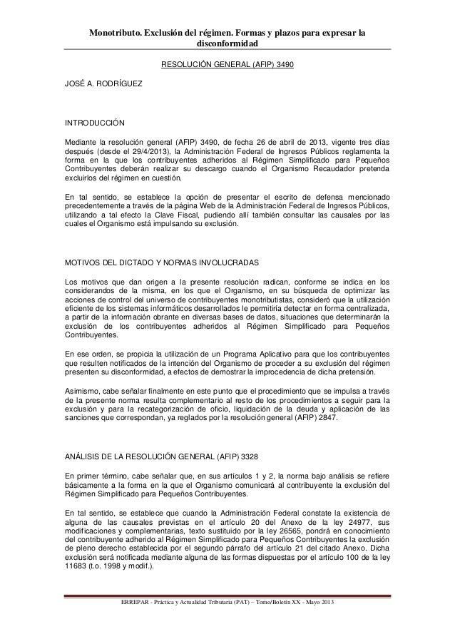 Monotributo. Exclusión del régimen. Formas y plazos para expresar ladisconformidadERREPAR - Práctica y Actualidad Tributar...