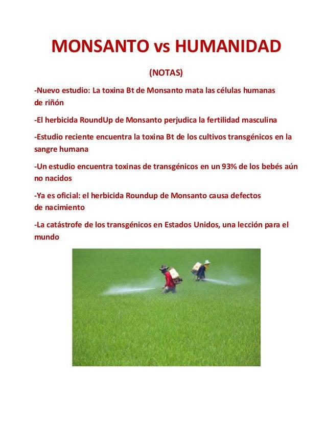 MONSANTO vs HUMANIDAD (NOTAS) -Nuevo estudio: La toxina Bt de Monsanto mata las células humanas de riñón -El herbicida Rou...