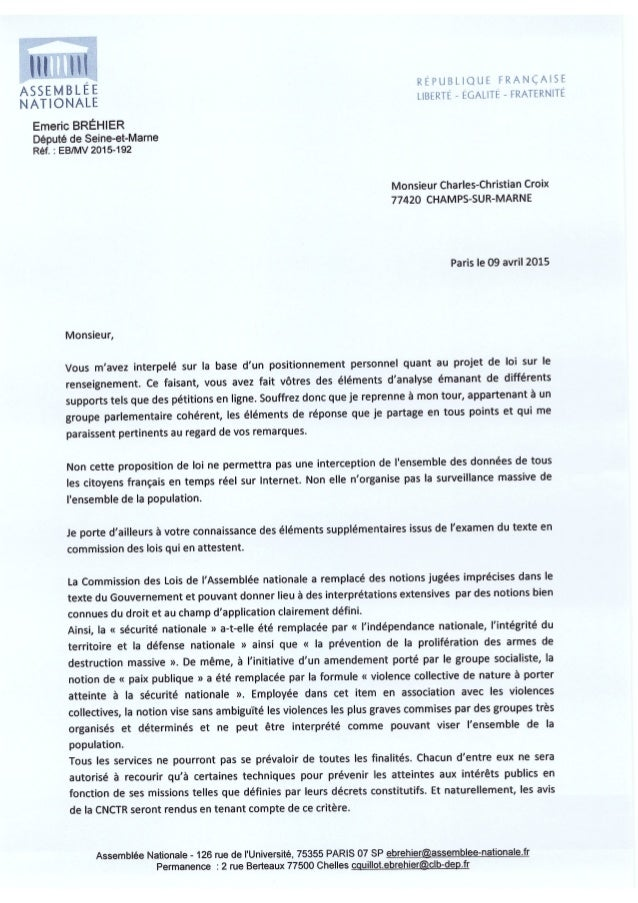 9 avril 2015 : Emeric Bréhier député PS de la 10e circonscription de Seine-et-Marne soutiens le #PJLRenseignement