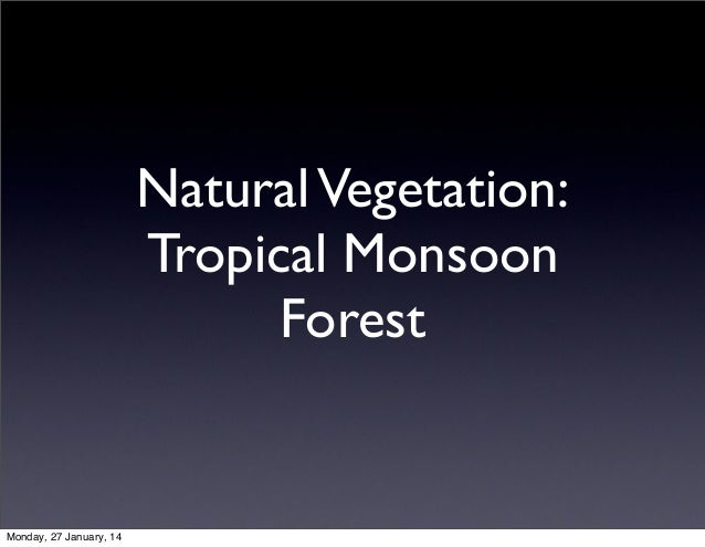 Natural Vegetation: Tropical Monsoon Forest  Monday, 27 January, 14