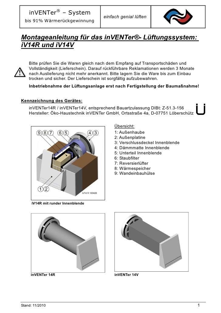 inVENTer® – System                                        einfach genial lüften  bis 91% WärmerückgewinnungMontageanleitun...