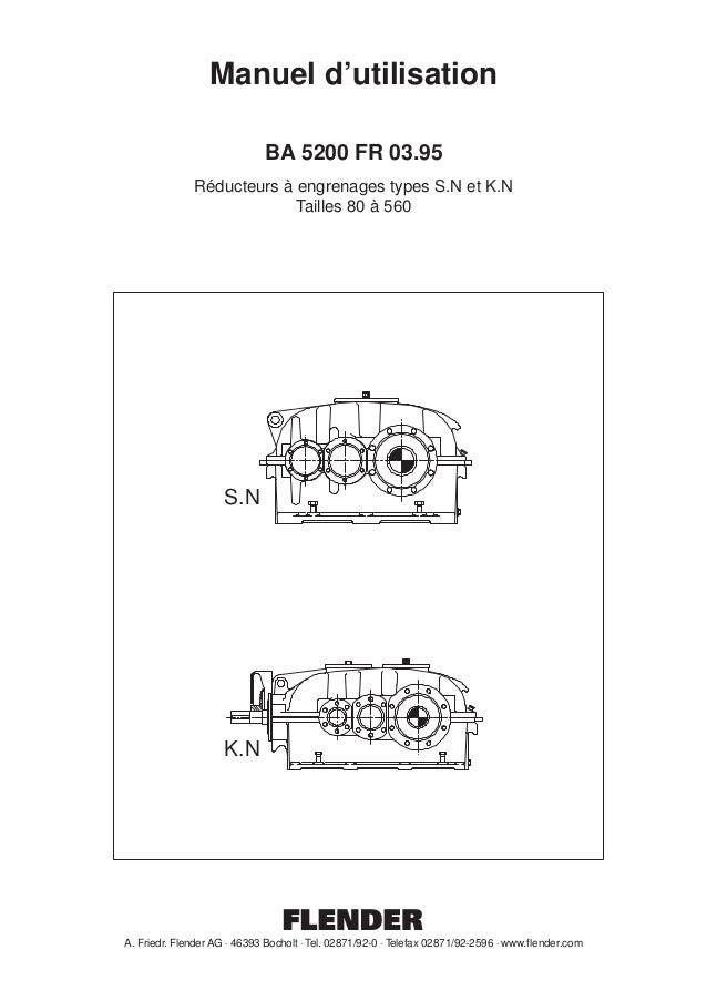 Manuel d'utilisation BA 5200 FR 03.95 Réducteurs à engrenages types S.N et K.N Tailles 80 à 560  S.N  K.N  A. Friedr. Flen...