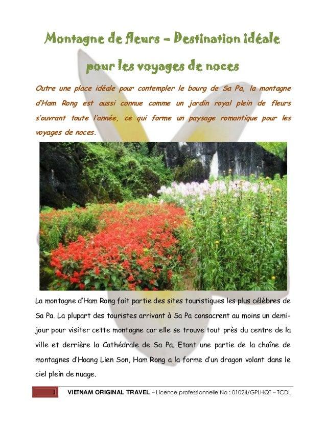 Montagne de fleurs – Destination idéale pour les voyages de noces Outre une place idéale pour contempler le bourg de Sa Pa...