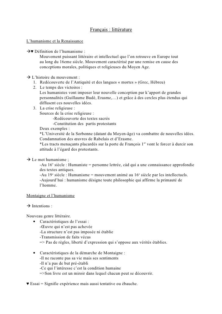 Français : littérature  L'humanisme et la Renaissance  ♥ Définition de l'humanisme :      Mouvement puissant littéraire e...
