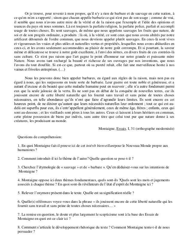 dissertation des cannibales de montaigne Sujet : identifiez et reformulez la thèse de l'auteur : montaigne et la  il refuse de  considérer les indiens cannibales comme des barbares et des.