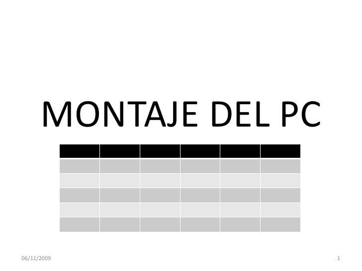 MONTAJE DEL PC<br />07/11/2009<br />1<br />